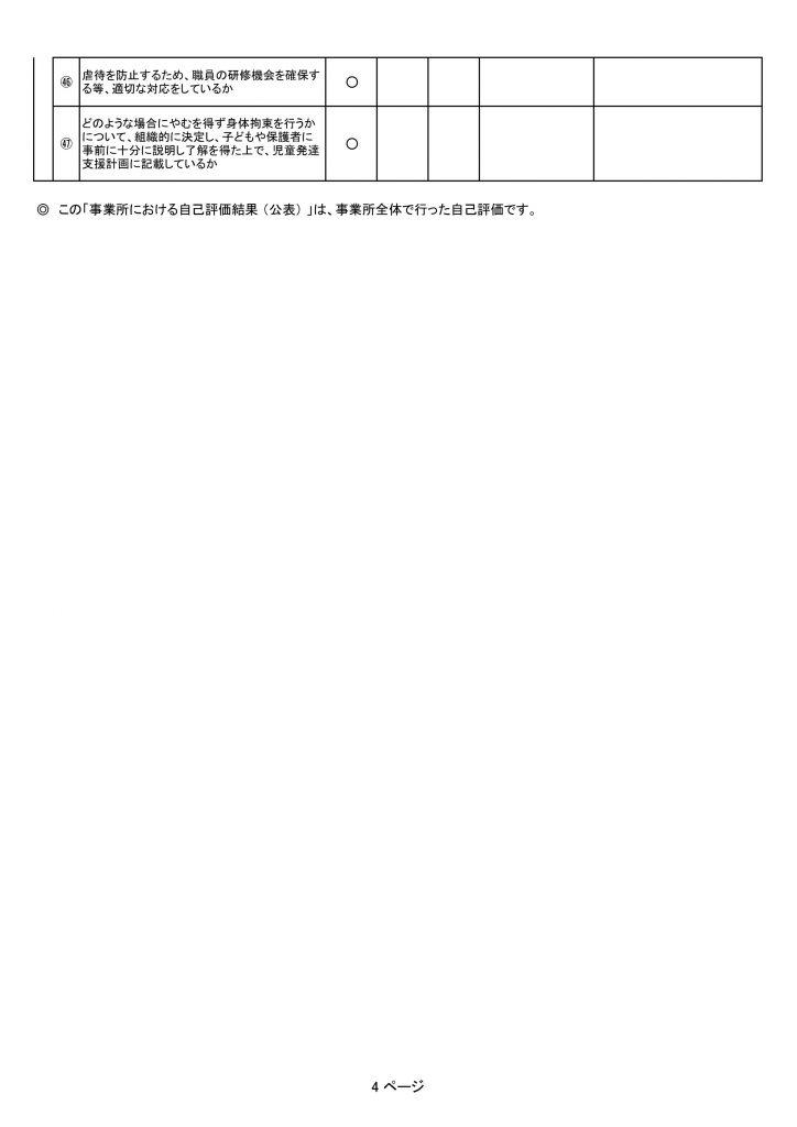 自己評価表(児発)4